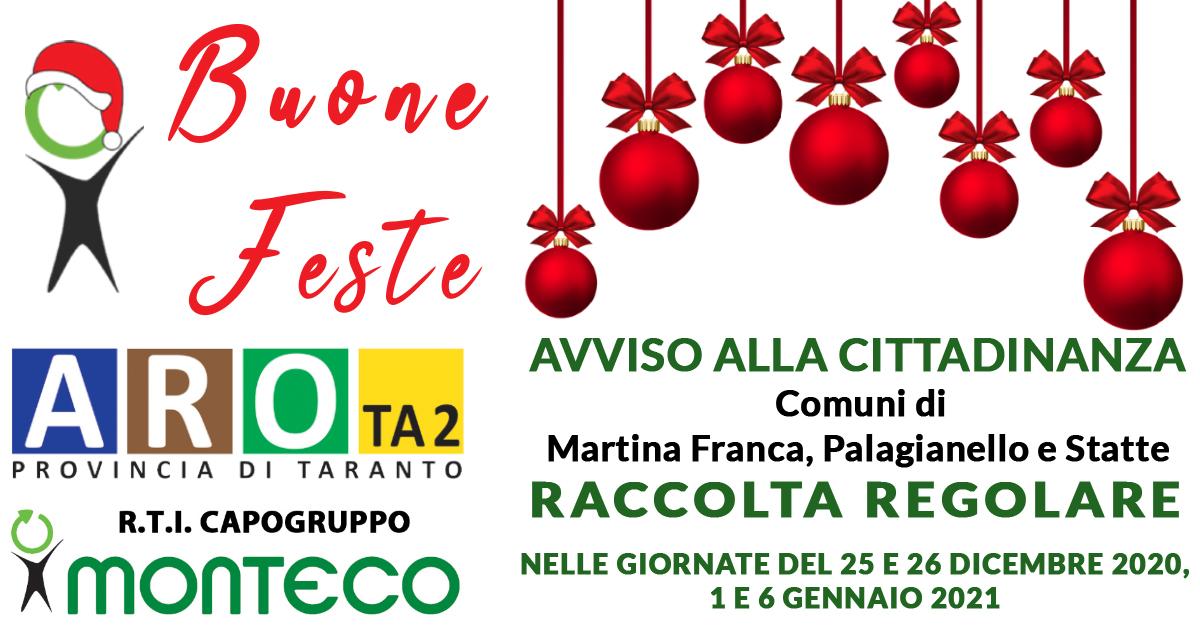 ARO TA2: Comuni di Martina Franca, Palagianello e Statte. Raccolta regolare durante le prossime festività natalizie