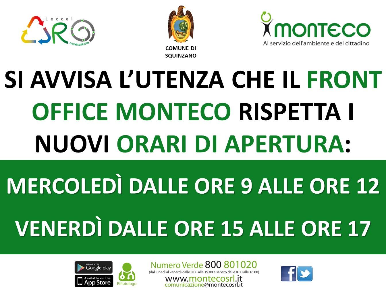 Squinzano - Nuovi Orari Front Office