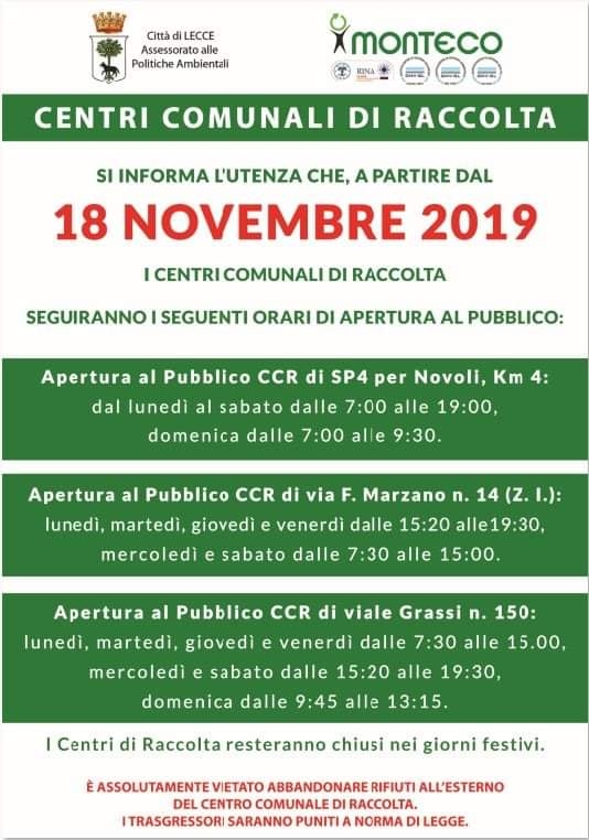 Lecce. Nuovi orari di apertura al pubblico dei Centri Comunali di Raccolta