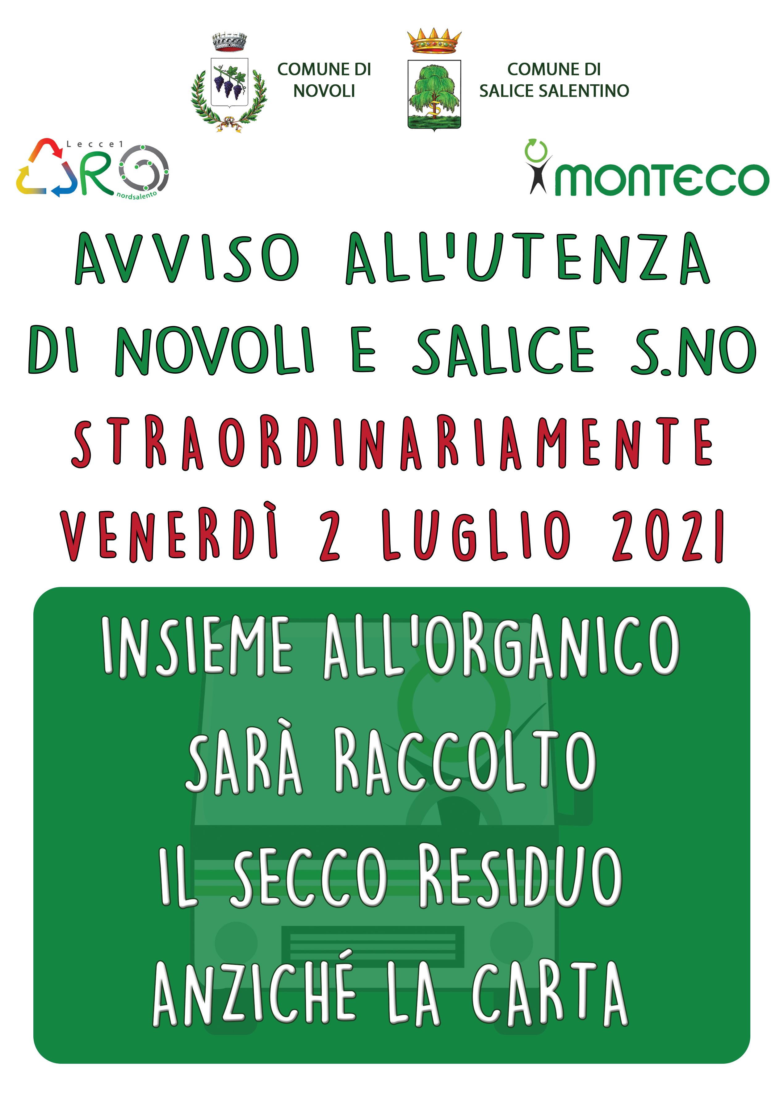 Comuni di Novoli e Salice Salentino. Straordinariamente venerdì 2 luglio 2021 sarà raccolto il secco anziché la carta