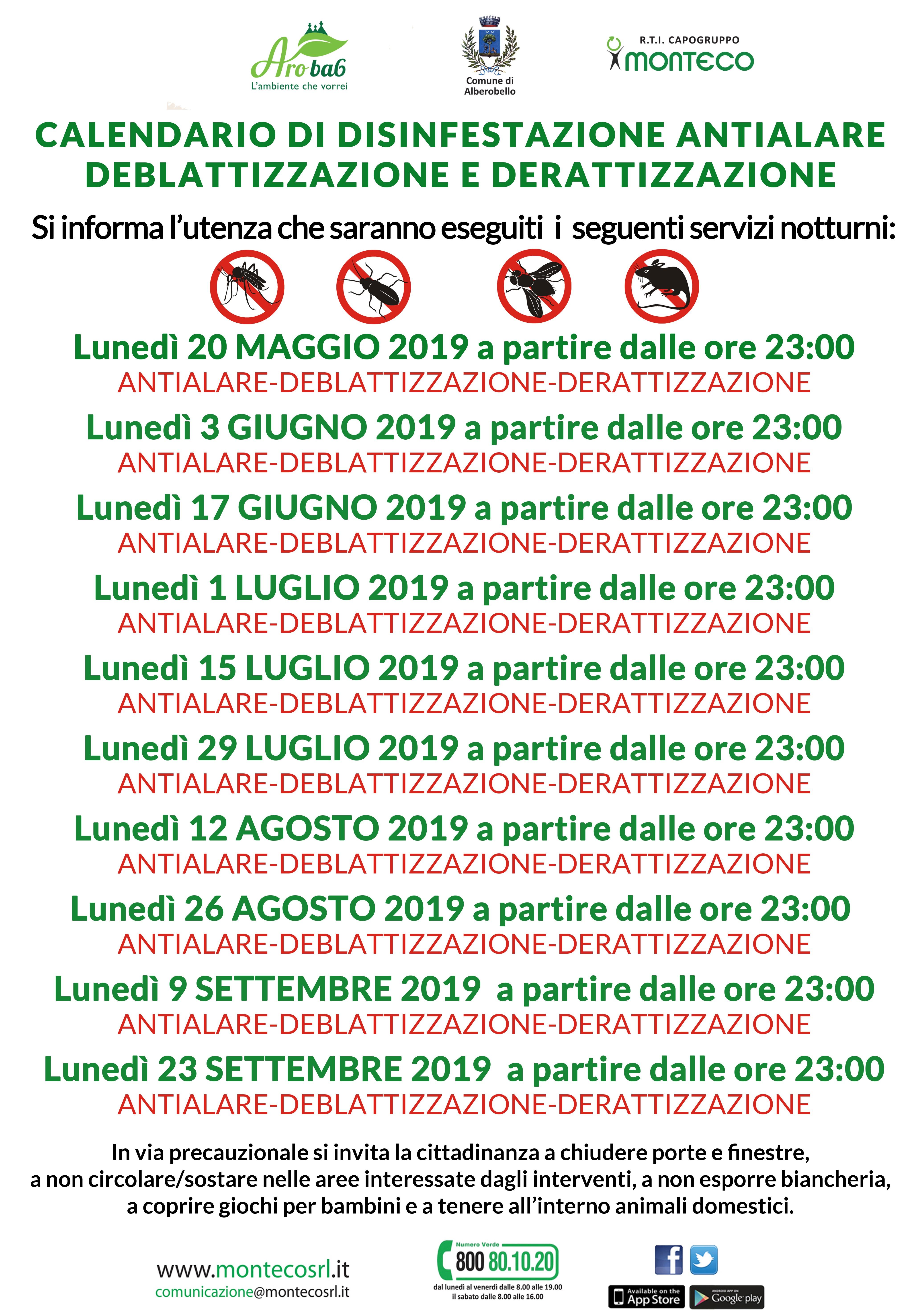 Alberobello - Calendario di disinfestazione antialare, deblattizzazione e derattizzazione