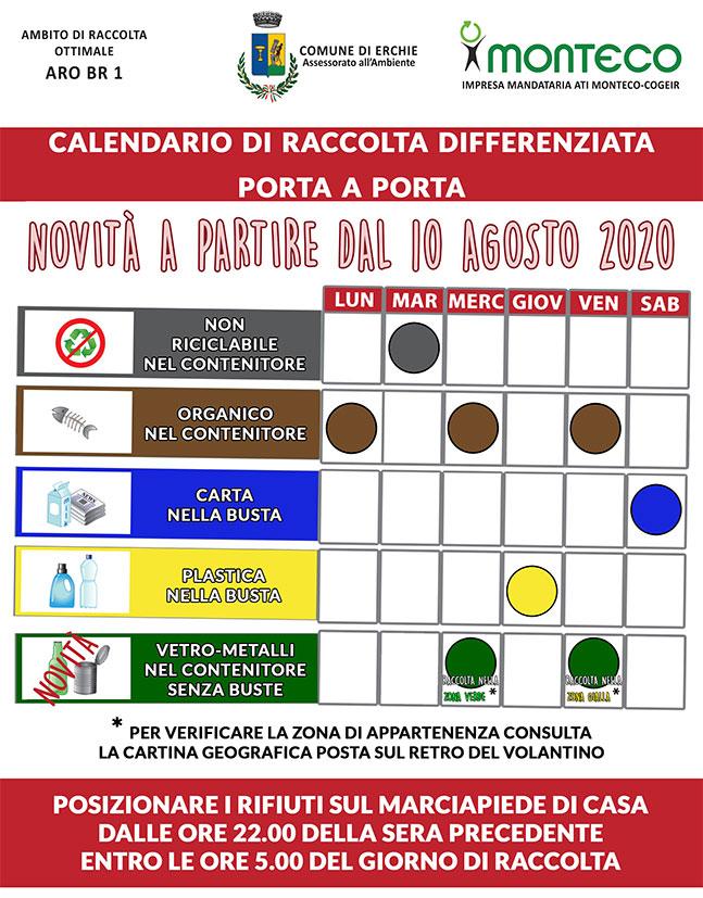 Erchie: dal 10 agosto 2020 cambia il giorno di raccolta di vetro-metalli