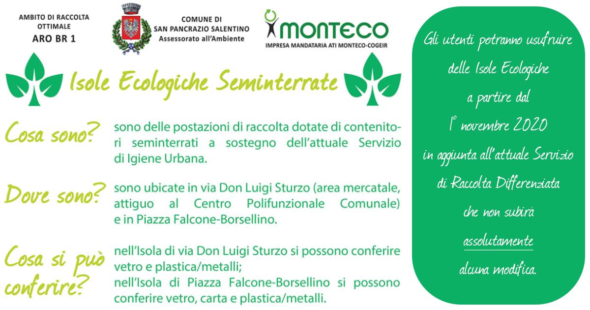 San Pancrazio Salentino: attivazione Isole Ecole Ecologiche seminterrate