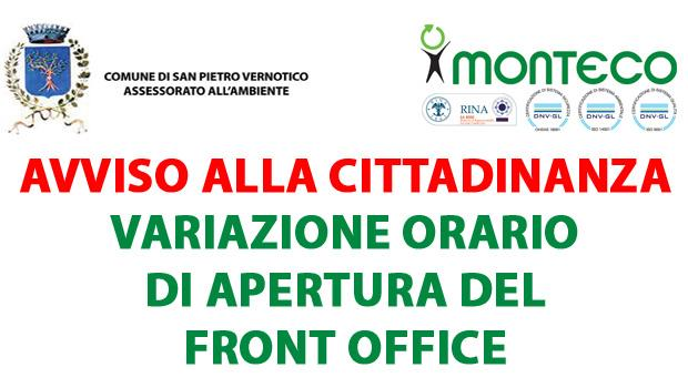 San Pietro Vernotico: cambia l'orario di apertura del Front Office