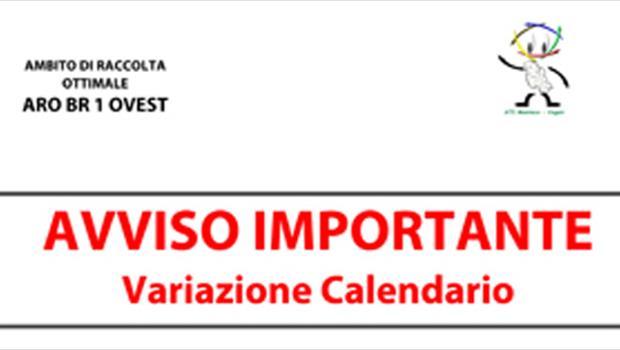 Variazione calendario di raccolta nei Comuni dell'ARO BR1 OVEST in occasione delle festivita' pasquali