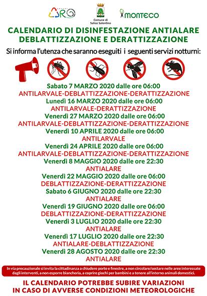 Salice Salentino. Calendario disinfestazioni antialare, antilarvale, derattizzazione e deblattizzazione