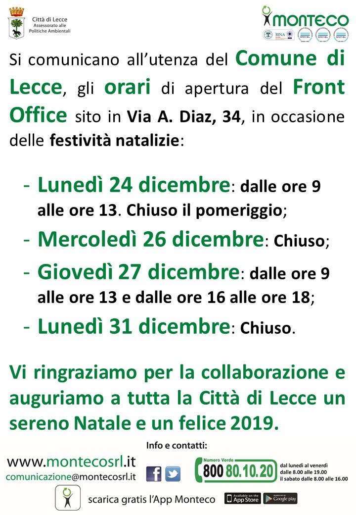 Orari apertura Front Office Lecce in occasione delle festività natalizie